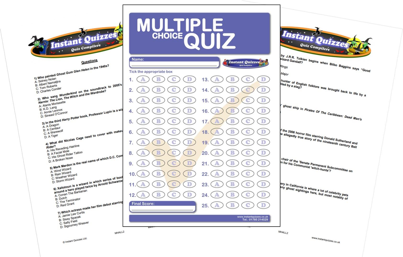 Halloween Multiple Choice Quiz