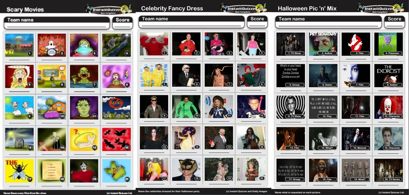 Halloween Picture Quizzes